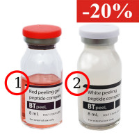 Белый пилинг осветляющий с пептидным комплексом и экстрактом пунарнавы White peeling + Красный пилинг-ревитализант с пептидным комплексом Red peeling BTpeel