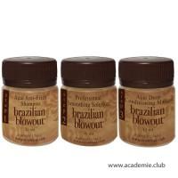Пробный набор (Очищающий шампунь + Кератин + Маска) для выпрямления волос Brazilian Blowout, 3*50 мл