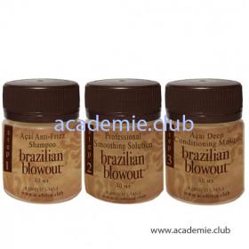 Пробный набор (Очищающий шампунь + Кератин + Маска) для выпрямления волос Brazilian Blowout, 3*40 мл