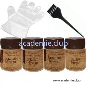 Пробный набор (Очищающий шампунь + Кератин + Маска + Реконструктор для секущихся кончиков + Перчатки + Кисточка) для процедуры ботокс Brazilian Blowout, 3*40мл + 1*40мл