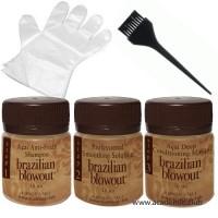 Пробный набор (Очищающий шампунь + Кератин + Маска + Перчатки + Кисточка) для выпрямления волос Brazilian Blowout, 3*50 мл